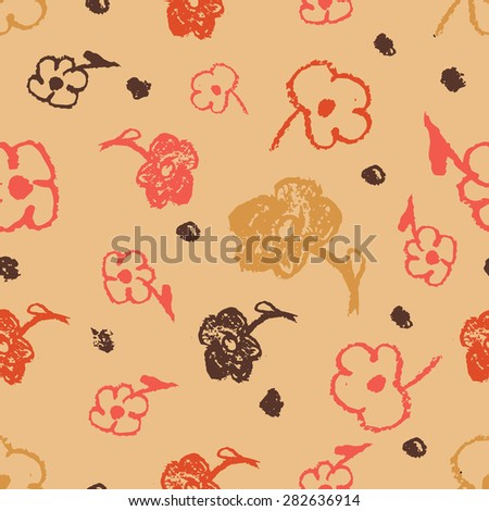 Vector seamless graphical minimalistic hand drawn flower print. Rough pastel texture. - stock vector