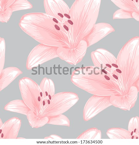 Vector seamless gray background with pink lilies.