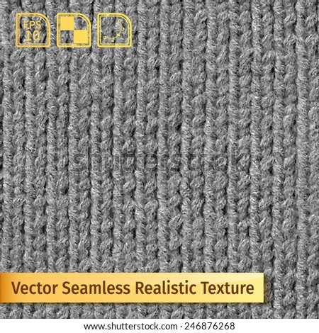 Vector seamless gray knitting texture. Realistic photo texture for your design - stock vector