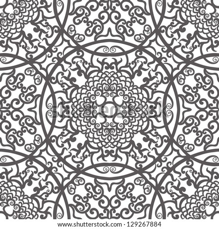 vector seamless gray traditional floral pattern background - stock vector