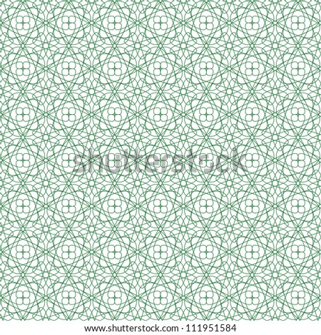 Vector seamless green illustration of tangier grid, abstract guilloche background