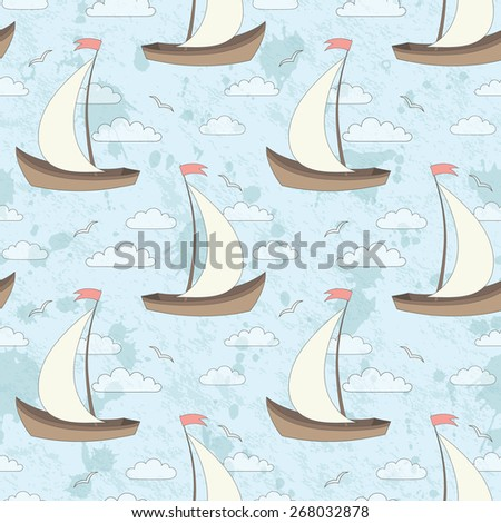 vector seamless grunge pattern with sailing ship, gulls and clouds - stock vector