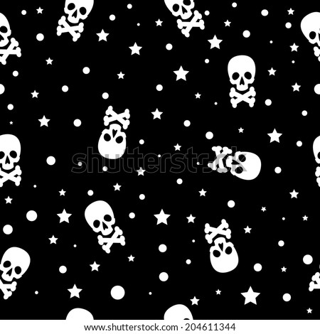 vector seamless Halloween background with skulls in black and white colors - stock vector