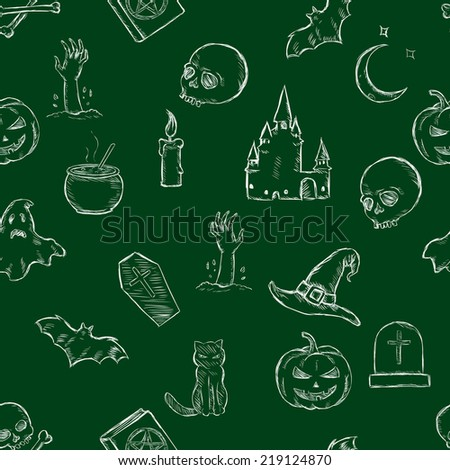 Vector Seamless Halloween Pattern - stock vector