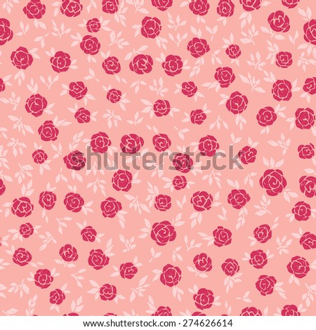 vector seamless hand drawn cute gentle flower pattern - stock vector