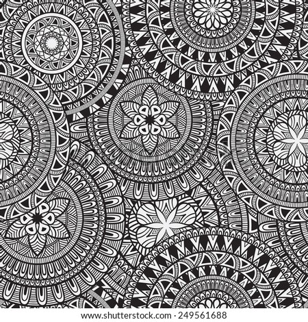 Vector Seamless Hand Drawn Doodle Pattern, seamless pattern in swatch menu - stock vector