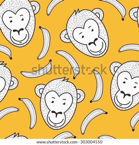 Vector seamless hand drawn pattern. Smiling monkey face and banana. 2016 New Year yellow and white background. - stock vector