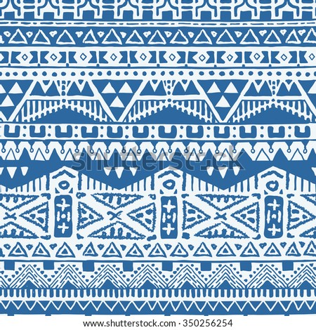 Vector Seamless Hand Drawn Tribal Pattern for Textile Design. Monochrome Ethnic Print with Rhombuses, Triangles and Stripes - stock vector
