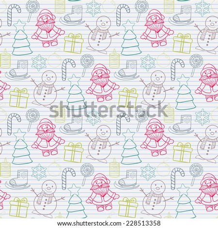 Vector seamless   Happy New Year and Merry Christmas pattern on the notebook sheet into the line with Santa Claus,snowman, Christmas tree, ice skates,gift, candle, Christmas toys, candy,snowflake - stock vector
