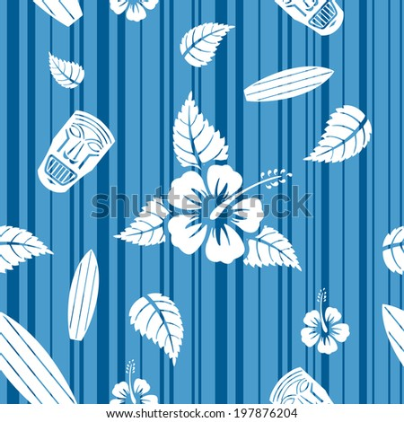 Vector seamless Hawaiian pattern with hibiscus flowers, surf boards and tiki masks  - stock vector
