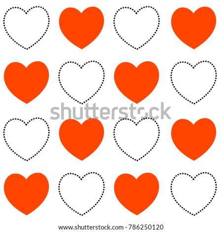 Vector Seamless Heart Pattern Love Symbol Stock Vector 786250120
