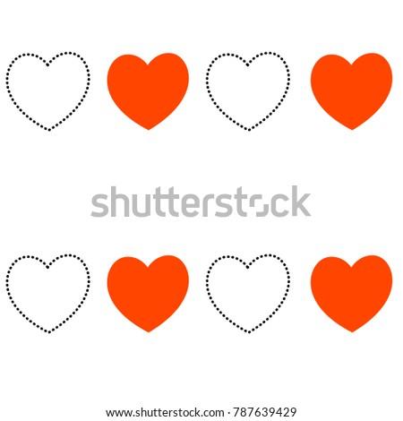 Vector Seamless Heart Pattern Love Symbol Stock Vector 787639429
