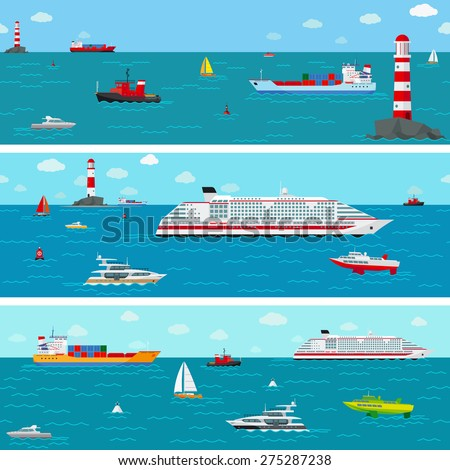 Vector seamless horizontal sea background with ship icons. Boat and shipping, yacht and liner - stock vector