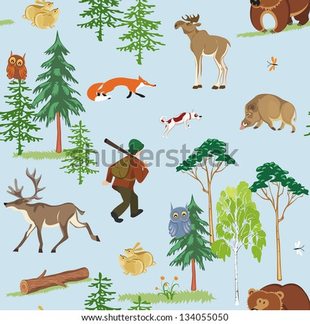Vector seamless hunting pattern with different wild animals living in the forest - stock vector