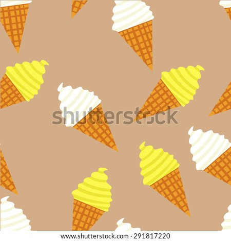 Vector seamless ice cream pattern. Desert elements pattern. Fruit ice cream