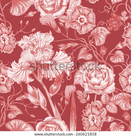Vector seamless illustration of flowers on a white background. Floral ornament. Design for fabrics, textiles, paper, wallpaper, Internet. Victorian style. Roses and irises.