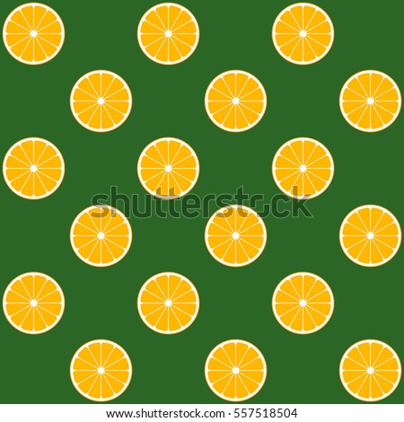Vector seamless illustration with orange slices on green background. This template with this design can be used as a template for the design in the fashion industry, wallpaper, wrapping paper, etc.