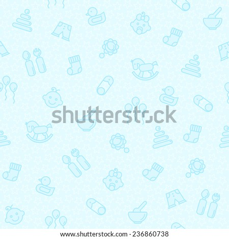 Vector seamless image with children's toys and baby goods on a blue background - stock vector