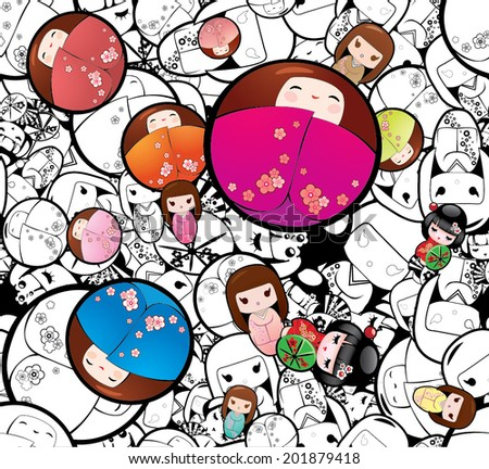 Vector Seamless Japanese Kokeshi Dolls Background - stock vector