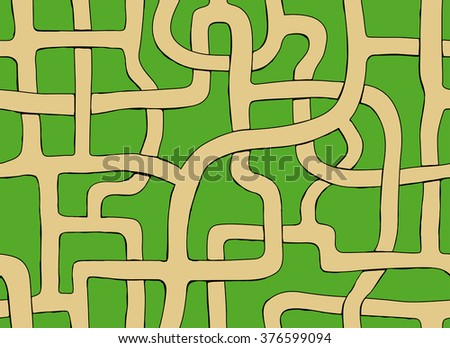 vector seamless labyrinth. Drawn endless road.
