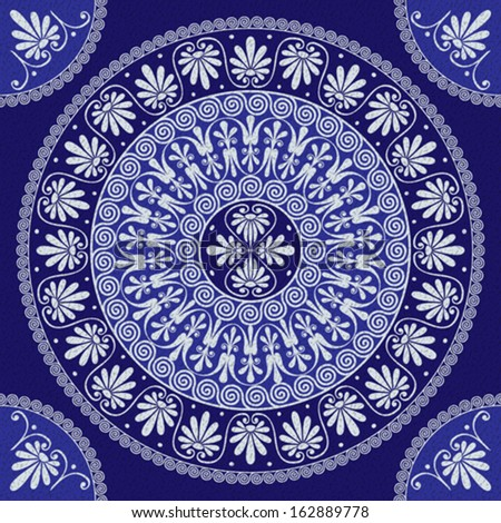 Vector seamless lace Traditional vintage round Greek ornament (Meander) and floral pattern on a blue background - stock vector