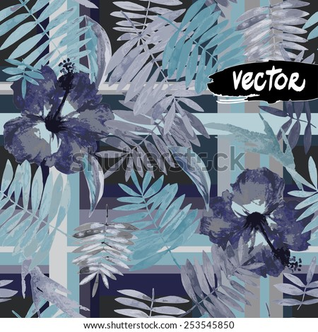 vector seamless masculine checks textile. diverse exotic plants. monochrome watercolor vector. pattern of palm leaves and flowers hibiscus on a dark background. Dark tropical jungle. floral pattern - stock vector