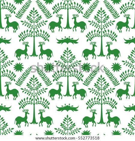 Vector Seamless Mexican Otomi Style Green Forest Pattern