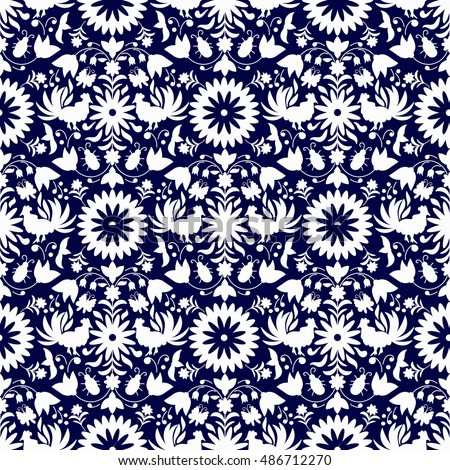 Vector Seamless Mexican Otomi Style  Pattern