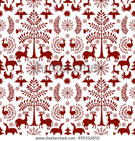 Vector Seamless Mexican Otomi Style Winter Pattern