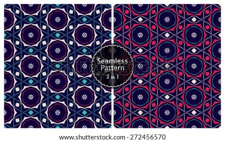 Vector Seamless Modern Pattern Background Set - stock vector