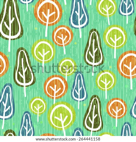 Vector Seamless Modern Tree Background Pattern - stock vector