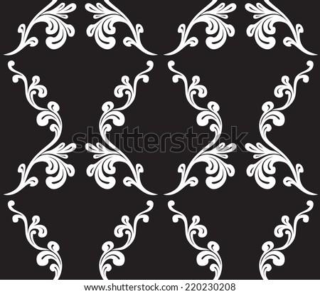 Vector. Seamless monochrome damask pattern - stock vector