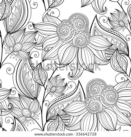 Vector Seamless Monochrome Floral Pattern. Hand Drawn Floral Texture, Decorative Flowers, Coloring Book