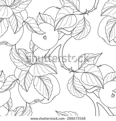 Vector Seamless Monochrome Fruit Pattern. Hand Drawn Decorative Branch of Apple Tree - stock vector