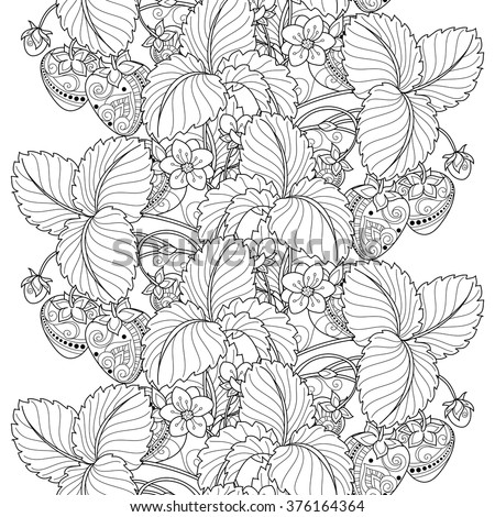 Vector Seamless Monochrome Fruit Pattern. Hand Drawn Decorative Strawberry - stock vector