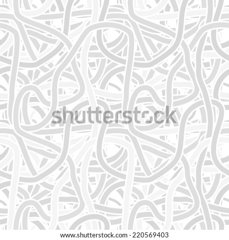 Vector seamless monochrome gray pattern - continuous interlocking shapes like spaghetti
