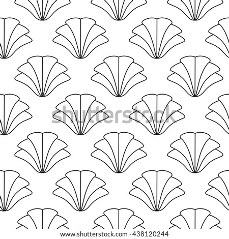 Vector seamless monochrome pattern with shells in classical style. Abstraction stylized endless wallpaper with black shells. Graphics vertically background. Line, contour, outline - stock vector
