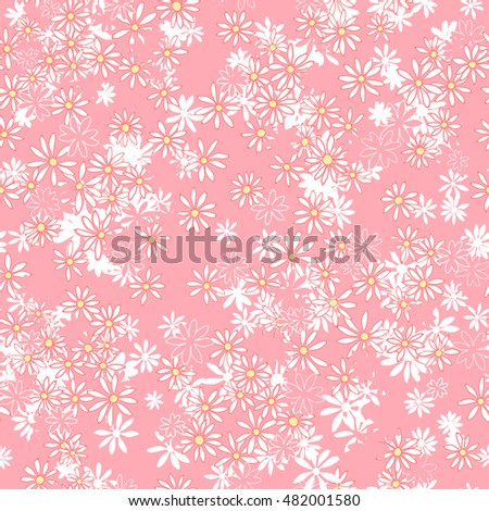 vector seamless naive minimalistic ditsy flower pattern, modern little daisy floral background print