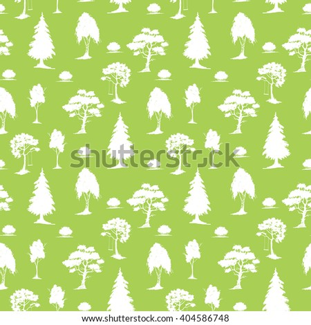 Vector seamless natural pattern with trees. White on green. Hand drawn vector illustration. Ink sketch. For prints, backgrounds, wrapping, fabric and other design. - stock vector