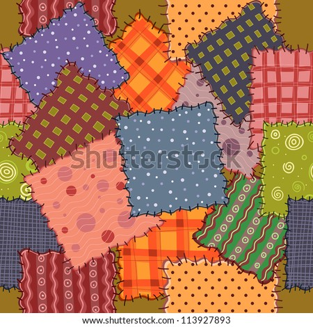 vector seamless of colorful patchwork fabrics
