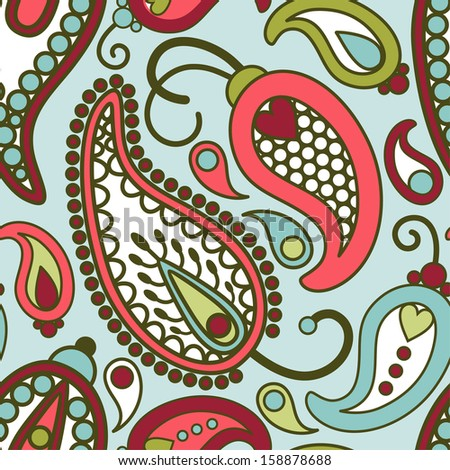 vector seamless orient paisley pattern - stock vector
