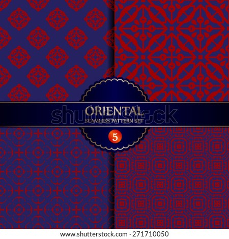 Vector Seamless Oriental Pattern Background Set - stock vector