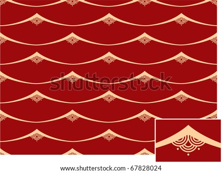 Vector Seamless Oriental Tile (background pattern wallpaper) - stock vector