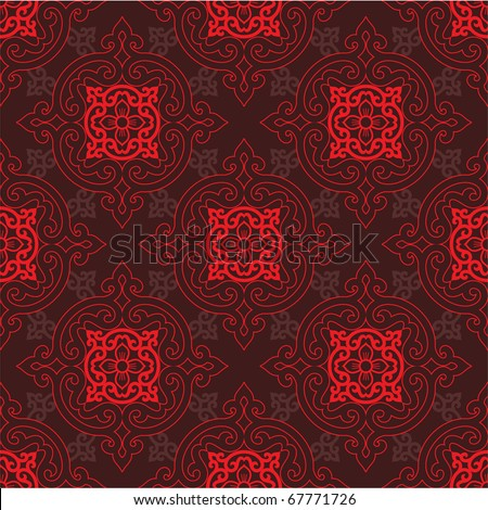 Vector Seamless Oriental Tile (background, wallpaper, pattern, texture) - stock vector