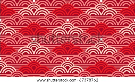 Vector Seamless Oriental Waves Tile (background texture wallpaper) - stock vector
