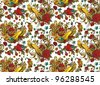 Vector seamless ornament wallpaper, retro background in vintage style. - stock vector