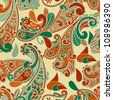 vector seamless paisley  pattern, fully editable eps 8 file with clipping mask, pattern in swatch menu - stock vector