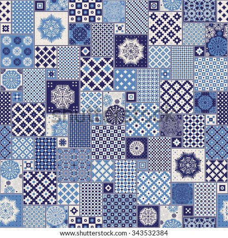 Vector seamless patchwork pattern from dark blue, indigo,light grey and beige oriental and Norwegian star ornaments,square rosette from stylized paper cut snowflakes.Christmas, New Year Pillow print. - stock vector