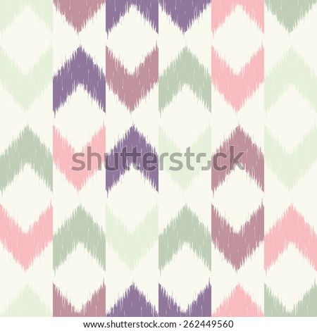Vector seamless patter design with chevron ikat repeating ornaments - stock vector