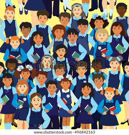 Vector seamless pattern. A crowd of pupils of different nationalities in uniform on a yellow background